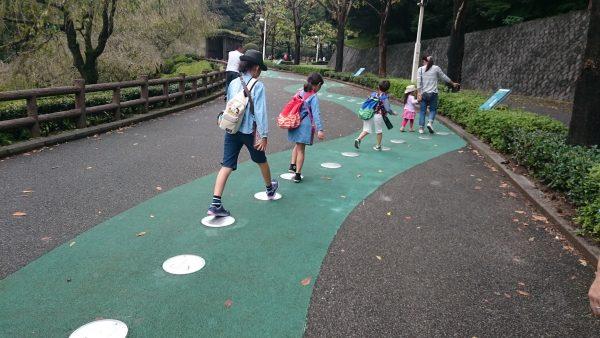 動物園手前の遊歩道にはいろんな動物の足跡