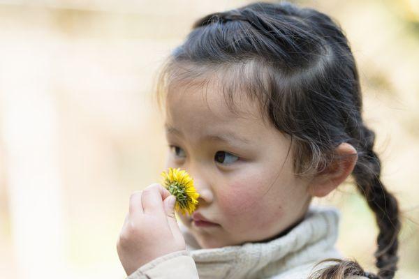 花をかぐ女の子