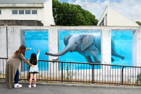 とべ動物園 3Dアート